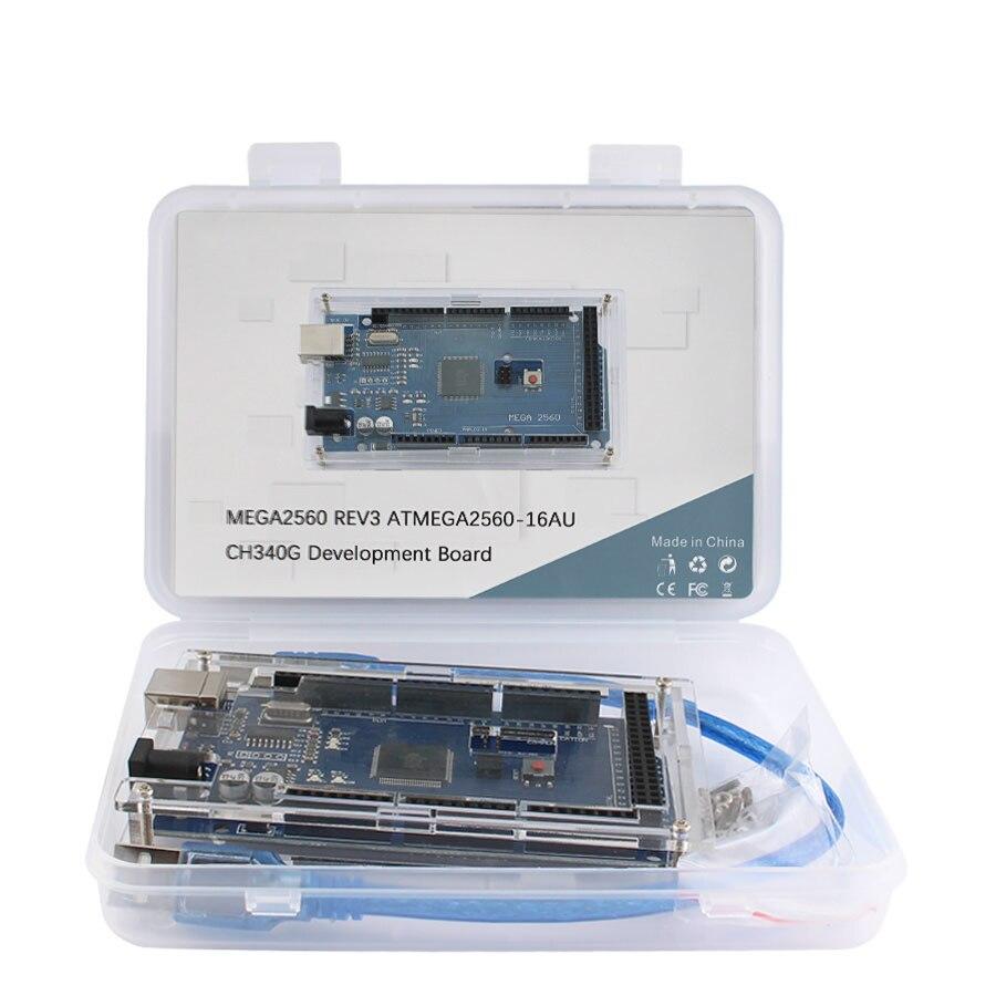 For Arduino Mega 2560 R3 MEGA2560 REV3 ATMEGA2560-16AU CH340G AVR USB Development board MEGA2560 diy electronic Kit with box недорого