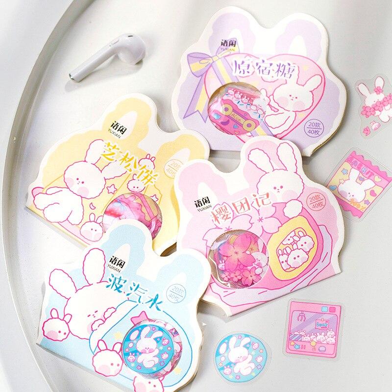 40 unids/bolsa encantadora caramelo conejo pegatinas de viñetas para diario de la mano del teléfono cuenta Decoración