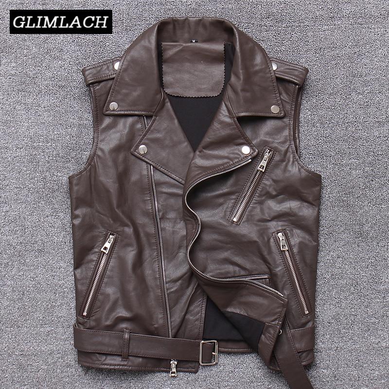 سترة راكب الدراجة النارية من جلد الغنم للنساء ، سترة بدون أكمام مع حزام ، ملابس خارجية نحيفة