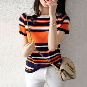 Thin short sleeve striped T-shirt female 2021 summer new loose round neck contrast knitted bottoming shirt