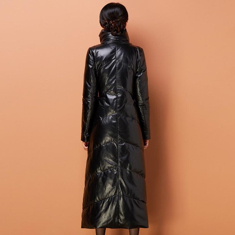 Black Sheepskin Jacket Ladies 2021 Winter 80% White Duck Down Elegant Warmth Self-Cultivation Leather Down Jacket Long Coat enlarge