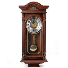 Duży zegar ścienny Vintage cichy duży luksusowy cyfrowy antyczny europejski zegar ścienny drewniany klasyczny salon Klok Home Decor AD50WC
