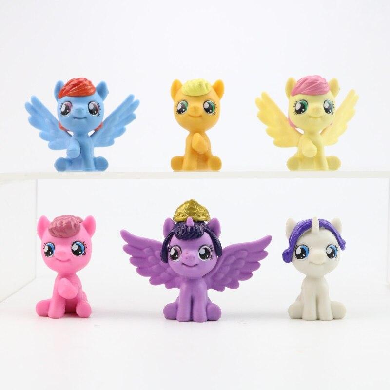 Conjunto de bonecos de pony voador, 6 pçs/lote, bonecos de brinquedo, mini animais de estimação, brinquedos de pvc, presente de aniversário para a menina crianças