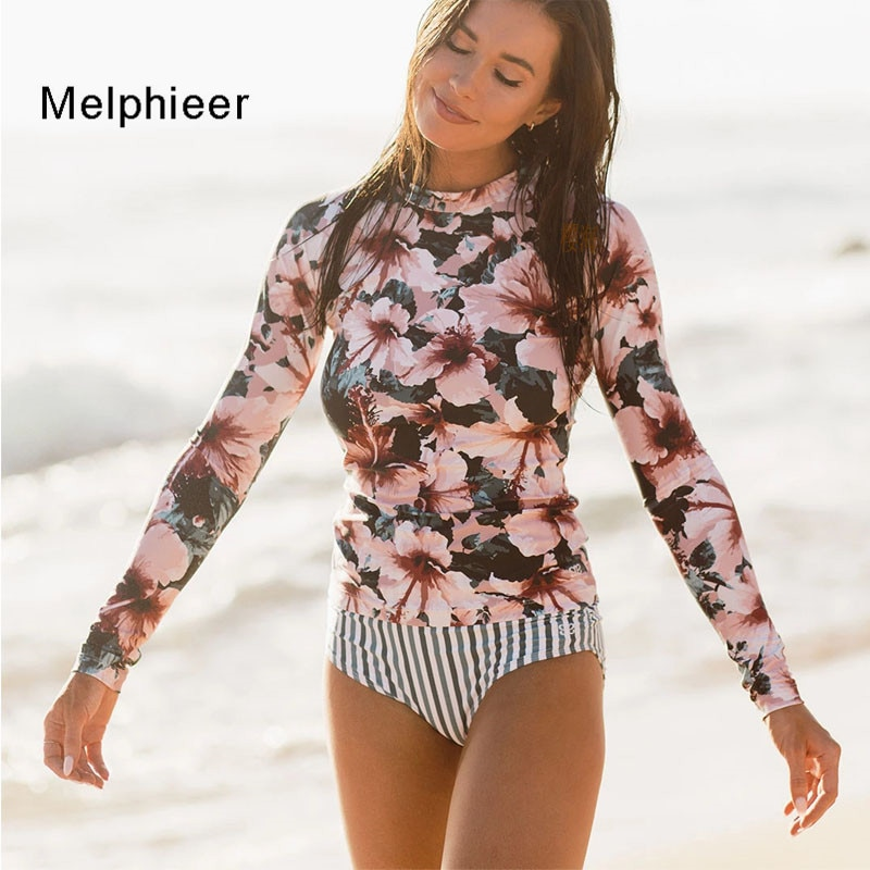 Nouveau Roxy fleur rayure éruption gilet Bikini femmes coussin Push up maillots de bain à manches longues maillot de bain femmes Biquini maillots de bain maillots de bain XL