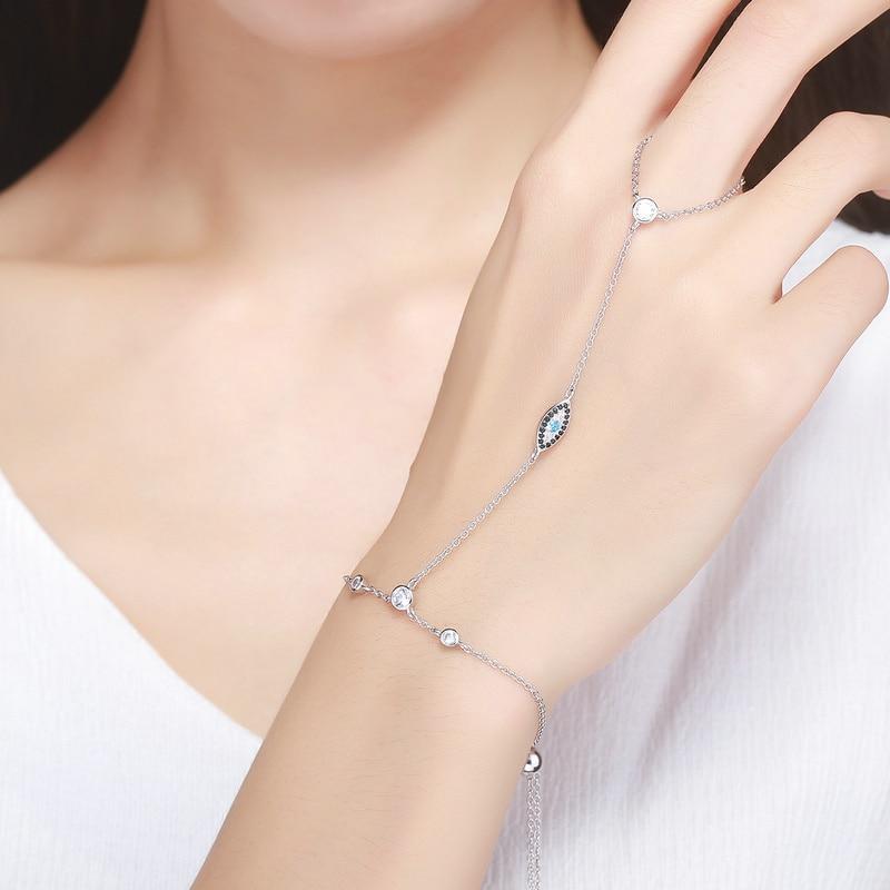 Женский двухслойный браслет BAMOER, браслет из серебра и 925 пробы с синими глазами, SCB023