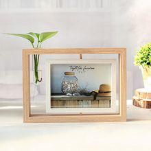 Holz Tabletop Doppelseitige Swivel 5X7 zoll Bilderrahmen Foto Halter mit Knospe Vase, micro-landschaft Glas Vase
