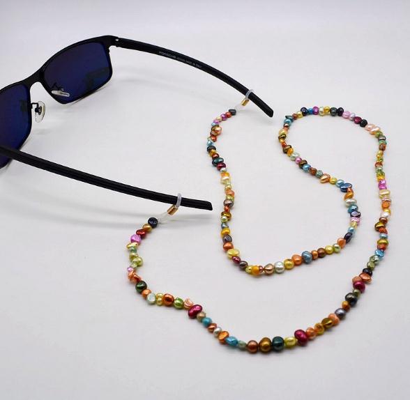 Unique Design AA Noble Pearl Glasses Chain Small Multicolor Real Pearl Gemstone Myopia Glass Sunglasses Accessories Lady Jewelry