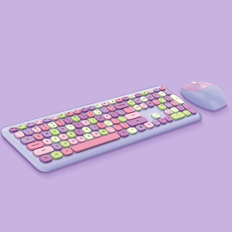 العالمي لطيف دفتر 2 في 1 ماوس لوحة المفاتيح اللاسلكية المجموعات 2.4 جرام اللاسلكية عدد الوسادة الوردي جولة الشرير لوحة مفاتيح وماوس صغير