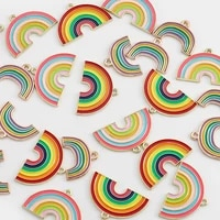 10pcs 3 styles alloy metal drop oil rainbow charms kc gold pendant for diy bracelet necklace jewelry making