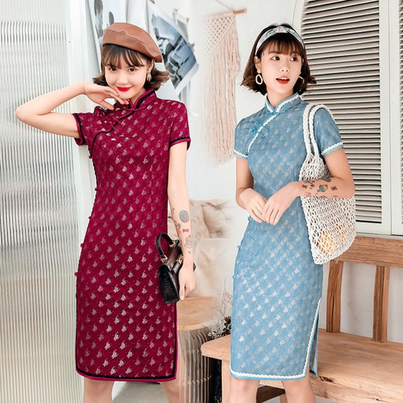 Vestido cheongsam clásico chino tradicional de Shanghai, vestido qipao mejorado, vestido cheongsam de encaje retro, vestido Boda China