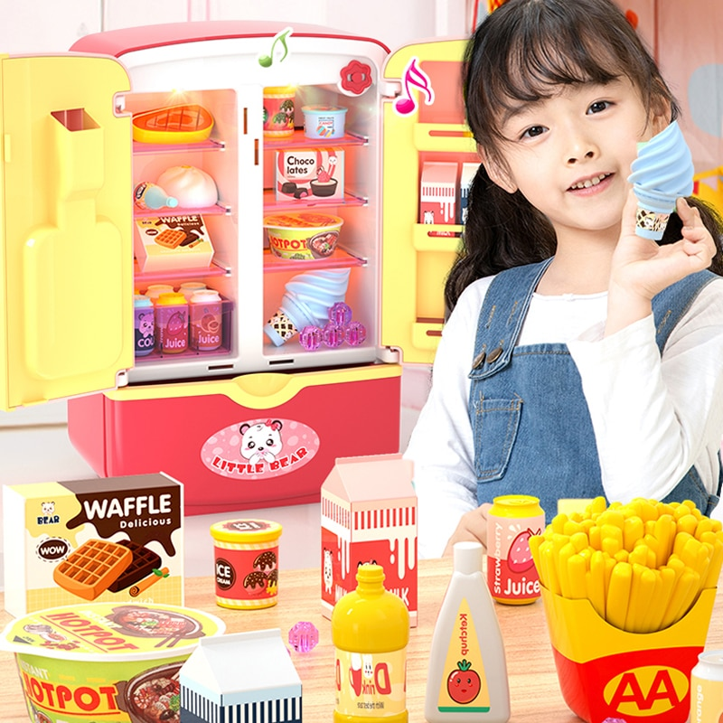 Simulation Refrigerator Kids Pretend Role Play Toys Kitchen Toy Pretend Play Toy Set Kids Play House Girls boy Gift