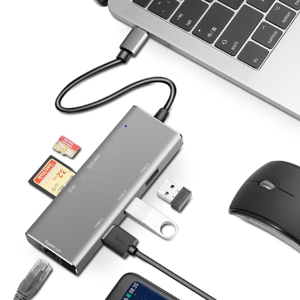 USB C HUB 1000Mbps 6 منافذ USB 3.0 نوع C HUB USB إلى Rj45 جيجابت إيثرنت محول لأجهزة الكمبيوتر المحمول ماك بوك اكسسوارات الكمبيوتر