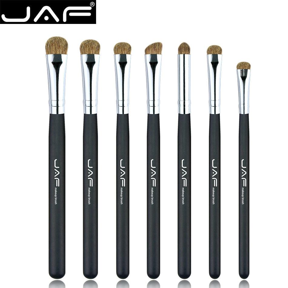 JAF 7pcs Eyeshadow Brushes for Makeup Classic 100% Natural Animal Hair Eye Shadow Blending Soft Make Up Brush Set JE07PY