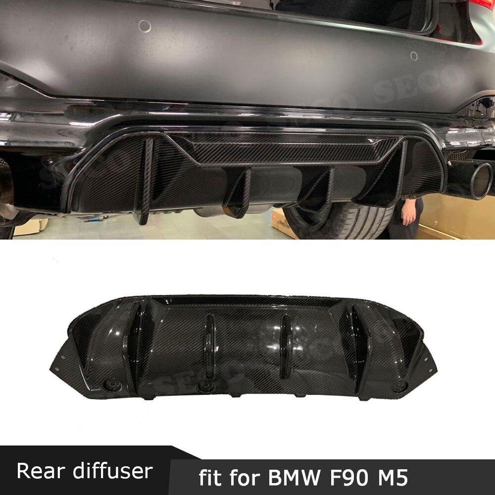 Para BMW serie 5 F90 M5 2017-2019 difusor trasero de fibra de carbono pegatina labio alerón FRP aletas estilo tiburón placa de deslizamiento de parachoques del coche guardia