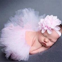 Bébé filles Tutu jupe et fleur bandeau nouveau-né photographie accessoires princesse tenue infantile balle cultivé 0-3 M G0374