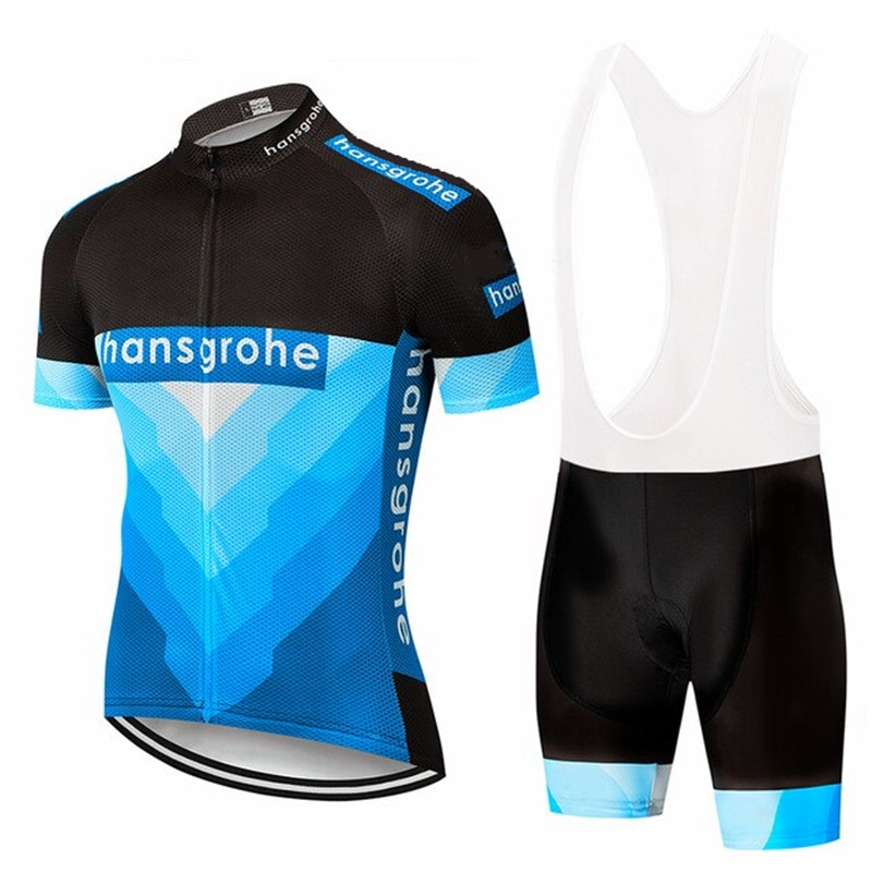 Hansgrohe 2020 pro equipe bib terno dos homens de manga curta ciclismo maillot conjunto bicicleta jérsei bib shorts terno ropa ciclismo hombre