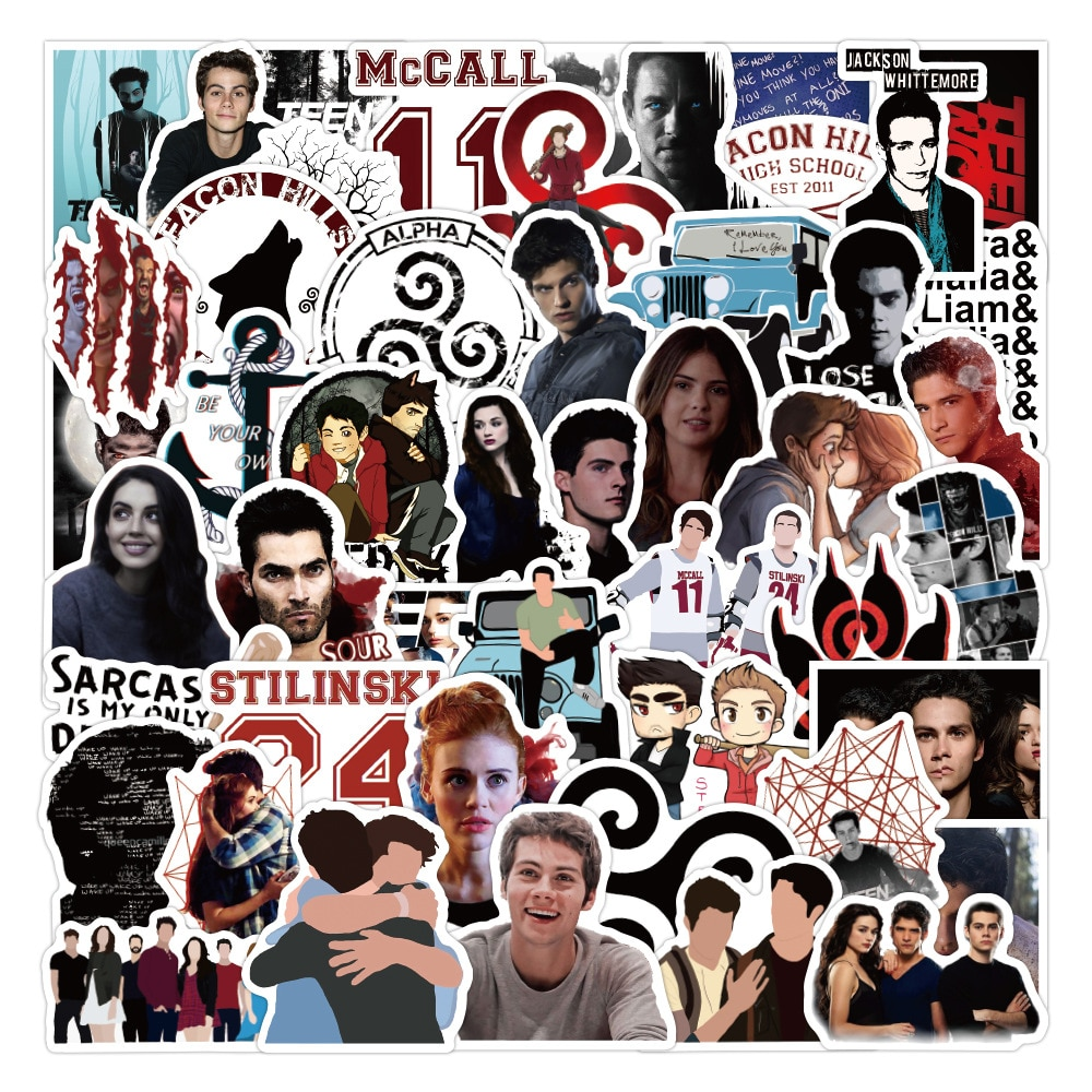 50pcs American TV Series Teen Wolf Graffiti Stickers DIY Laptop Luggage Skateboard Water Cup Scrapbook Stationery Sticker Toy