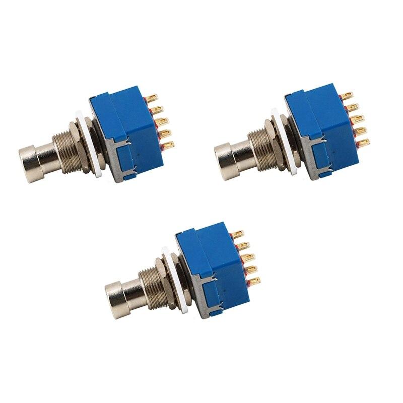 3 uds 9-Pin 3PDT caja de pedales de efectos de guitarra de pie pisa fuerte interruptor Bypass verdadero azul