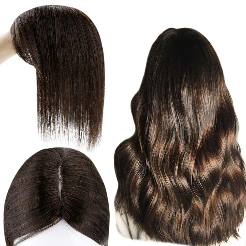 Ugeat Hair Toppers for Women with Thinning Hair Size 6.5*2.25Inch Mono Hair Pieces Human Hair Pure Color Clip in Hair Wiglets