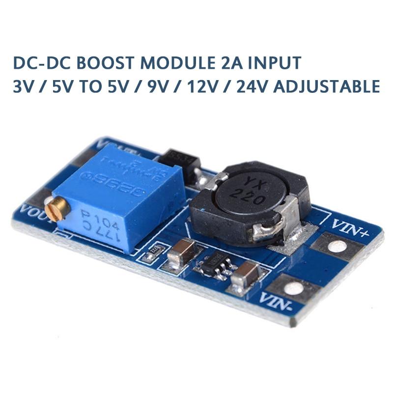 Модуль повышения мощности 2 А, плата повышения мощности, усилитель конвертера, вход 3 В/5 В до 5 В/9 В/12 В/24 В, регулируемый MT3608