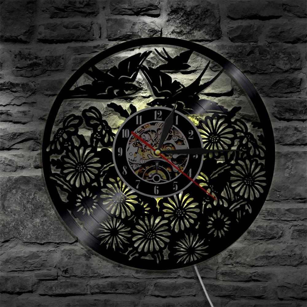 Lindo pájaro Animal Led Reloj de pared siete colores de luz cambian retroiluminación vinilo moderno lámpara de noche decoración para el hogar silencioso