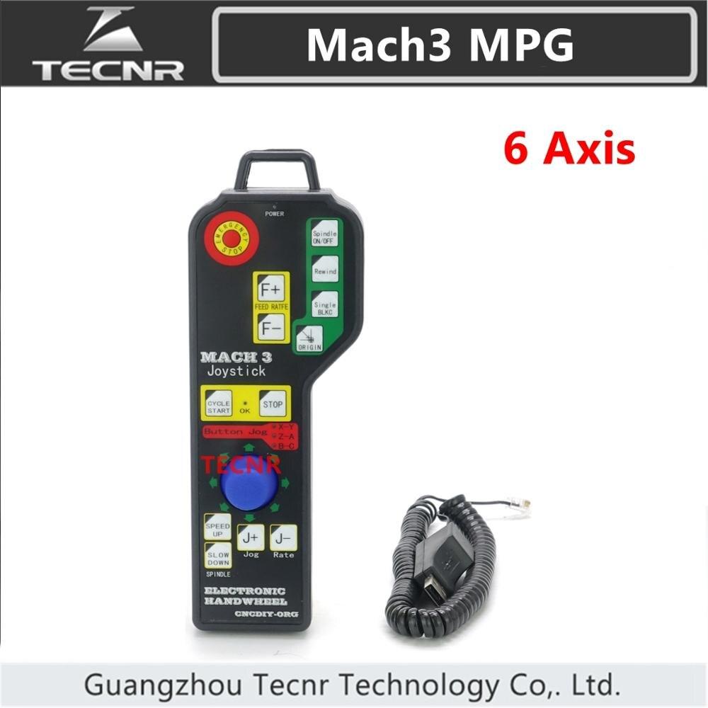 CNC Mach3 6 Axis Manual remote Control handwheel USB Pendant DSP JOG encoder for CNC router TECNR