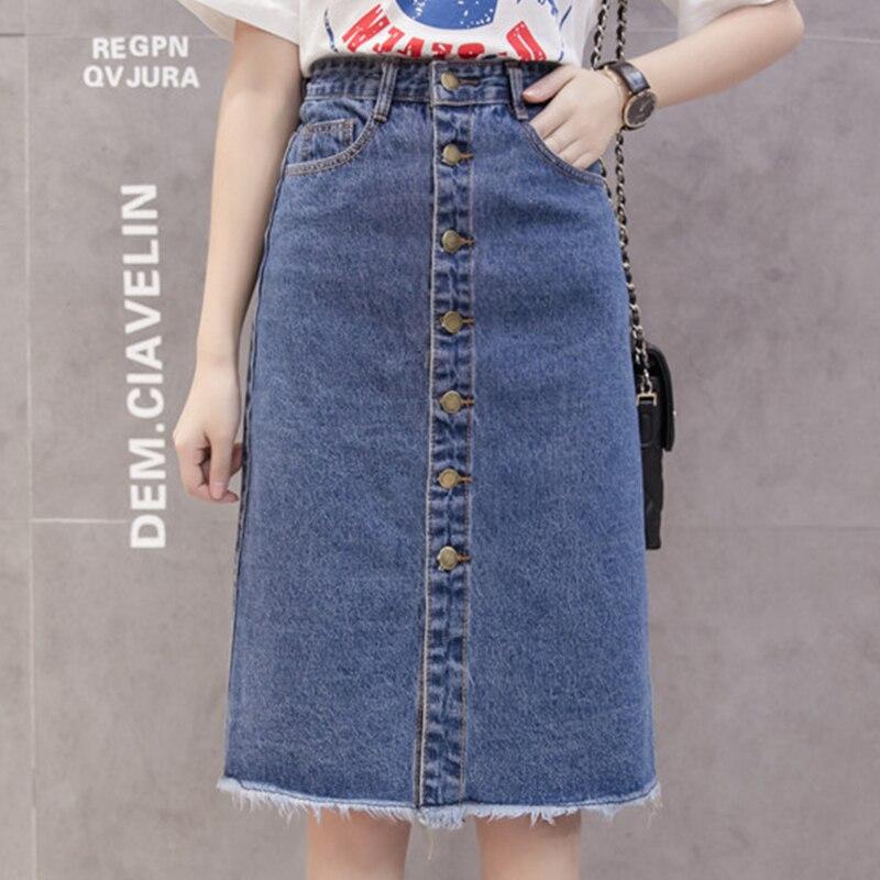 Botón señora Front Midi Denim Falda de mujer informal cintura alta Fray Hem con bolsillo largo Jeans falda femenina