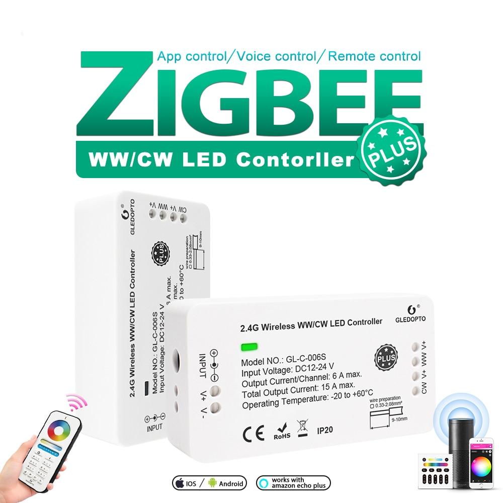 Controlador ZIGBEE WWCW Plus,CCT, para tira de LED, cc 12V/24V, altavoz inteligente, teléfono móvil, control remoto, Panel de Control
