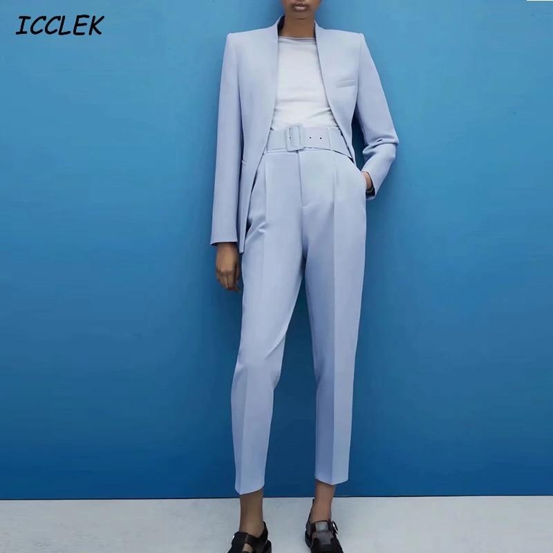 AliExpress - Za Women's Pants Suit Office Blazer Solid Jackets Elegant Coat Female 2 Piece Set 2021 Slim Outfit With Belt High Waist Trousers