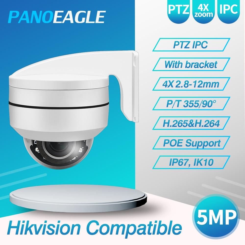 Panoeagel câmera ip ptz 5mp 4x-16x zoom velocidade dome ao ar livre ir 50m h.265 cctv câmera de segurança ip ip67 ik10 hikvision compatível