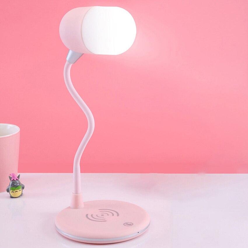 Светодиодная настольная лампа с зарядным устройством, Bluetooth-совместимая Колонка светодиодный Светодиодная настольная лампа с сенсорным уп...