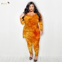 fnoce women clothing sets plus size large two pieces urban casual suits 2021 autumn winter new flannel sports fashion tie dyed