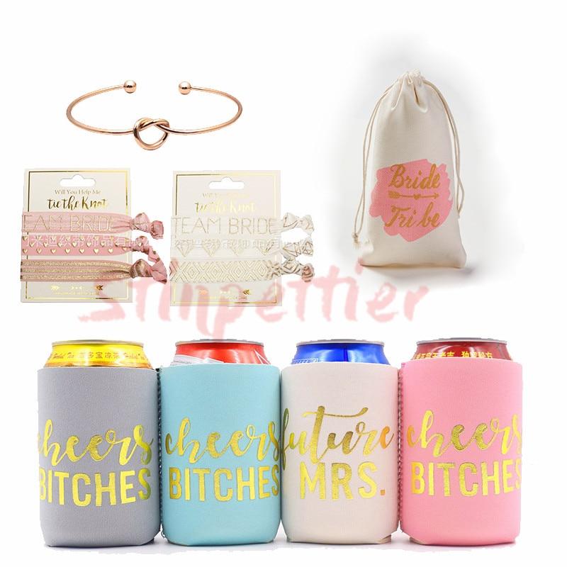 Equipo de fiesta de boda, copa de novia rosa dorada, bolsas de regalo para dama de honor, juego de copas de vino para despedida de soltera, suministros de decoración para fiesta JL75