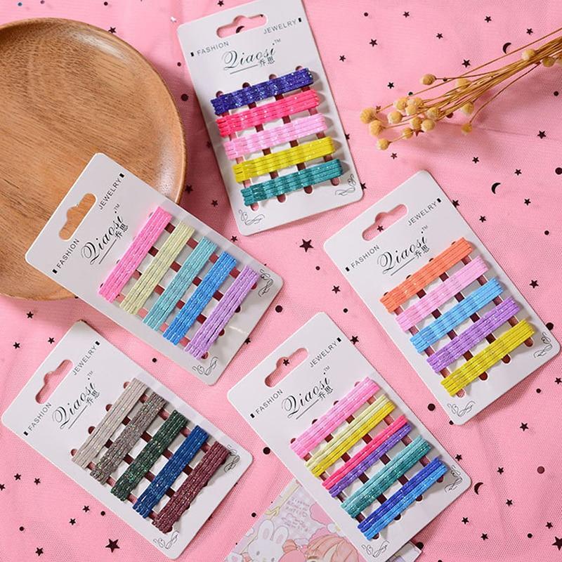 LOEEL 20 unids/pack Candy broches de pelo de colores horquillas en forma de U Mini 5,5 cm Metal plateado colorido horquillas para mujeres niñas