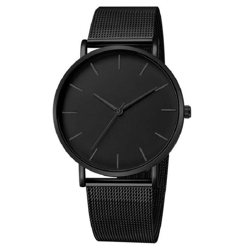 Minimalist Men Fashion Ultra Thin Watches Simple Men Business Stainless Steel Mesh Belt Quartz Watch