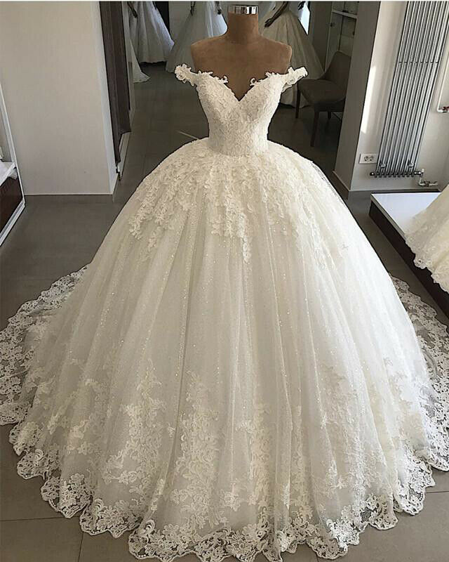 Get Off Shoulder Lace Ball Gown Wedding Dresses Appliques Bridal Gowns Custom Made