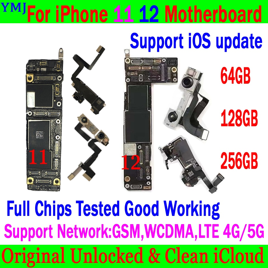 Review Original Unlock For iPhone 11 pro max /12 pro max Motherboard 64GB 128GB 256GB With Full Chips Logic Board Support IOS update