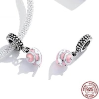 pink enamel teapot charm 925 sterling silver pendant beads party birthday gift for diy original bracelet necklace jewelry