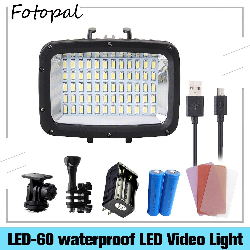 Fotopal 1800LM 3 Modi Wasserdicht Unterwasser 40m 5500K 60 stücke LED Tauchen Licht Video Studio Foto Lampe Für goPro Sport DSLR Kamera