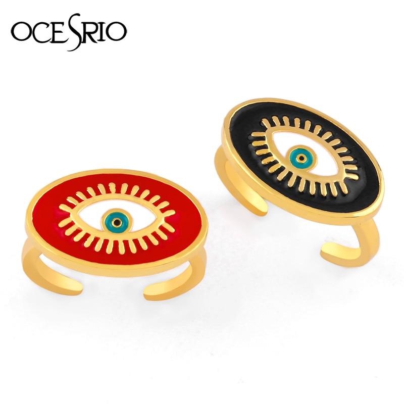 Anillos de ojo malvado turco de OCESRIO lleno de oro anillos ajustables de ojo malvado griego azul anillos abiertos para mujer joyas anilos para mujer rig-j18
