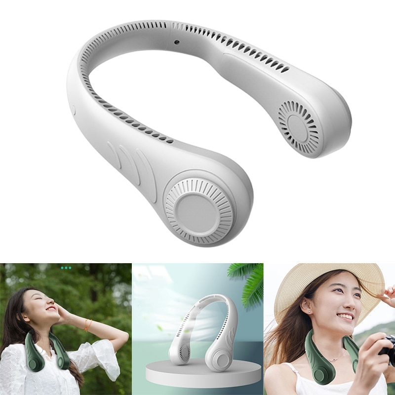 Portable Leafless Hanging Neck Fan,360 Degree Lazy Neckband Fan 78 Surround Air Outlets USB 4000Mah Rechargeable neck fan