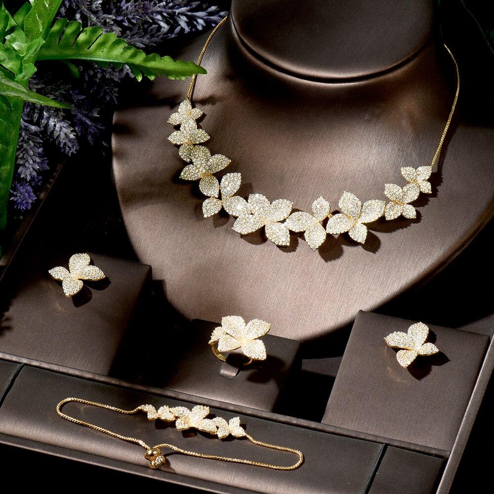 HIBRIDE سحر 4 قطعة ورقة تصميم القرط و قلادة مجموعة الذهب اللون النساء الزفاف مجوهرات الزفاف مجموعات اكسسوارات N-1744