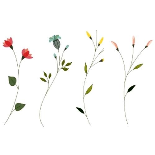 Tatuajes adhesivos florales para mujer, 24 diseños, tatuaje temporal resistente al agua, hoja de loto, chica, lavanda, tatuaje, tatuaje instantáneo, tatuajes falsos para mujer