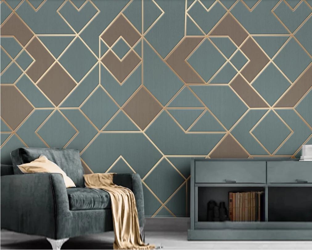 Abstract geometric golden lines modern minimalist luxury light background wall-custom wallpaper wall covering