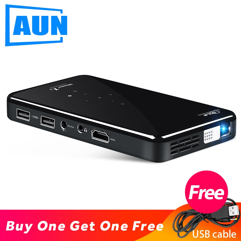 MINI Proyector AUN X2, Android 7,1 (opcional Control de voz 2G + 16G), Proyector portátil para cine en casa 1080P, Proyector de vídeo 3D