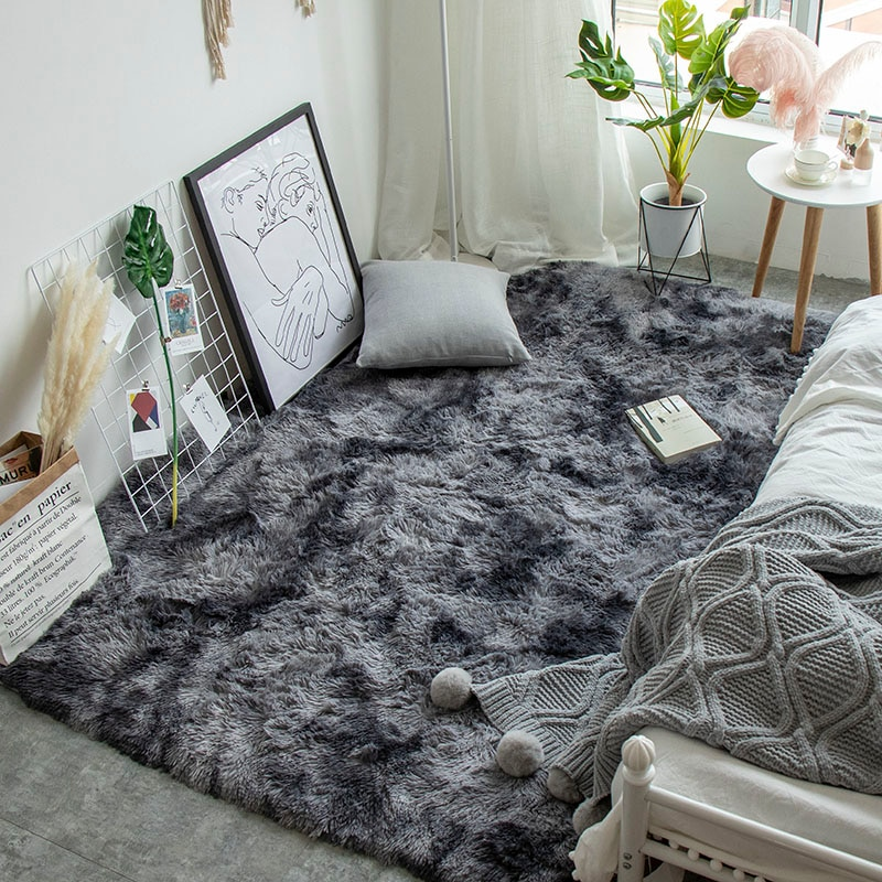 Nordic ins tie dyed carpet bedroom mat living room coffee table rectangular rug modern minimalist mat computer chair floor rug