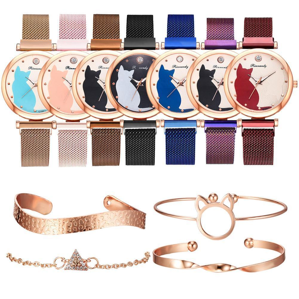 Women Watches Rose Gold Bracelet Set Cat Pattern Black Wrist Watches Magnet Watch Quartz Clock Ladies Y4W8