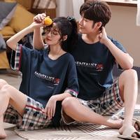 Couple Men\'s Pajamas Women\'s Summer 2021 Internet Hot Tomato Cotton Short Sleeve Two-Piece Suit Spring and Autumn Homewear