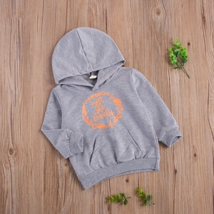 Unisex Infant Letter Printed Sweater Baby Casual Long Sleeve Hoodie with Front Pocket Sweashirt for 6M-5Y Toddlers