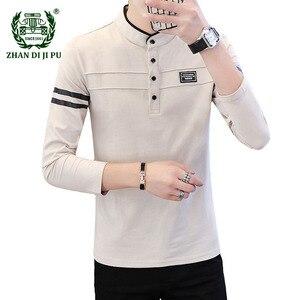 2021 Spring Mens Polo Shirts Fashion New Casual Printing Comfortable Cotton Stand Collar Long Sleeve Bottoming Shirt Brand Mens